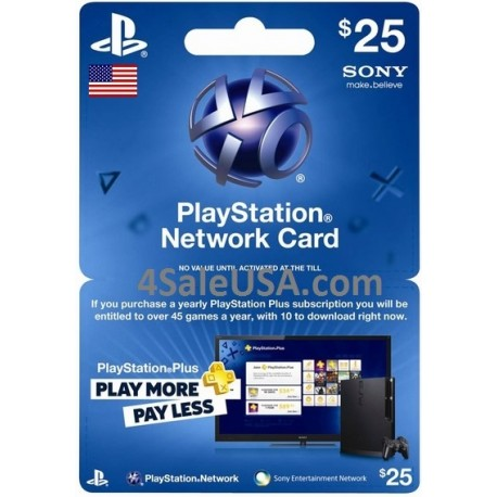 Playstation Network $25 Store Prepaid Sony USA Card PSN $25 Emailed