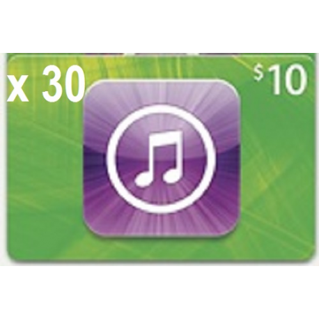 $300 iTunes 30x $10iTunes Apple Codes iPad iPod iPhone Gift 100% Legit Emailed