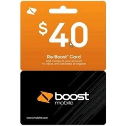 Boost Mobile $40 BM Cell Phone Refill TopUp AirTime Pay as you Go Reboost PIN Card Emailed Service