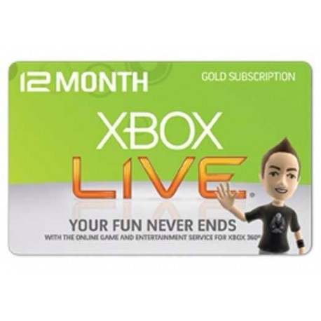 Xbox Live 12 Months Subscription WorldWide Gold Card / Code Emailed