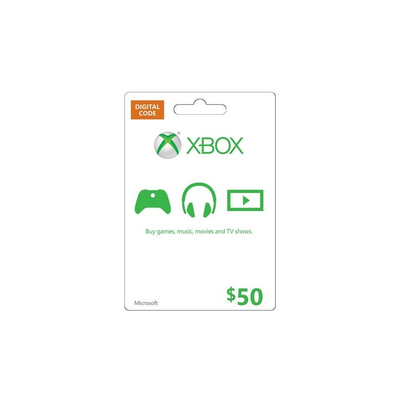 xbox  50 live gift card microsoft points ms voucher code