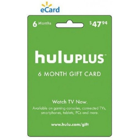 Hulu Plus 6 Month Half Year Gift Card Membership Subscription Code Emailed