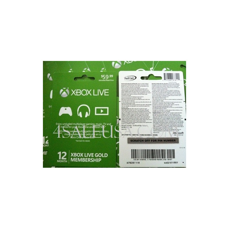 Xbox Live 12 Months Subscription WORLDWIDE Gold Card 1 year Code Emailed